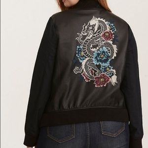 Torrid Faux Leather Dragon Embroidered Bomber